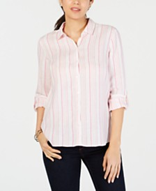 Charter Club Linen Striped Utility Shirt, Created for Macy's