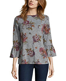 Floral Knit Top with Bell Sleeves