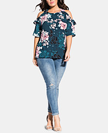 City Chic Trendy Plus Size Jade Blossom Top