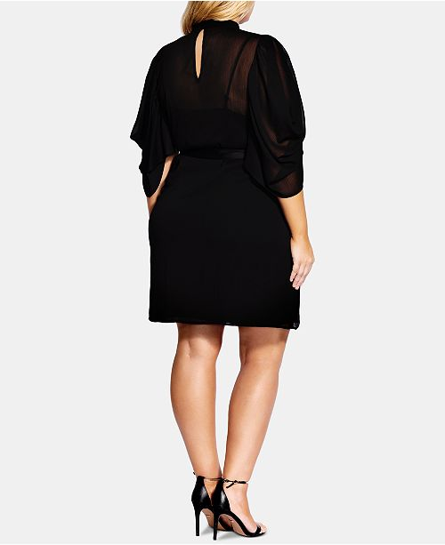 City Chic Trendy Plus Size Kimono-Sleeve Fit & Flare Dress & Reviews ...