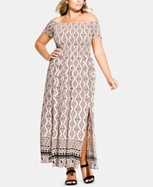 City Chic Trendy Plus Size Smocked Off-The-Shoulder Maxi Dress