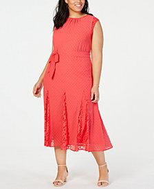 Taylor Trendy Plus Size Swiss-Dot & Lace Midi Dress