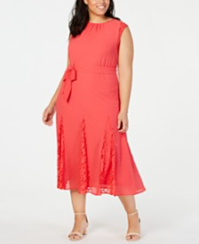 Taylor Trendy Plus Size Swiss-Dot & Lace Midi Dress