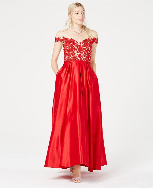 Blondie Nites Juniors' Off-The-Shoulder Embroidered Gown