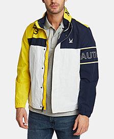 Nautica Men's Blue Sail Colorblocked Logo Bomber Jacket, Created for Macy's