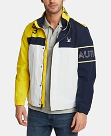 Nautica Men's Blue Sail Colorblocked Logo Bomber Jacket, Created for Macy's