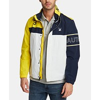 Nautica Men's Blue Sail Colorblocked Logo Bomber Jacket (Empire Gold)