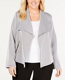 Calvin Klein Plus Size Jacquard Flyaway Jacket