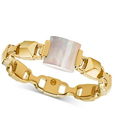 Gold-Tone Sterling Silver Imitation Mother-of-Pearl Ring