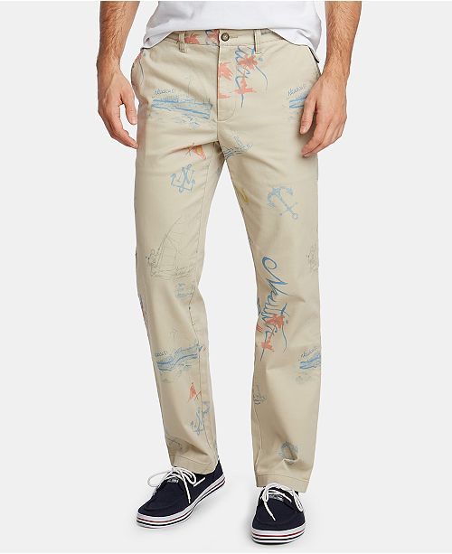 7563143a ... Nautica Nautica Men's Blue Sail Artist Series Classic-Fit Stretch  Printed Deck Pants, Created ...