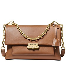 Cece Polished Leather Chain Shoulder Bag