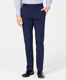 Bar III Men's Slim-Fit Seersucker Blue Pinstripe Suit Pants, Created for Macy's