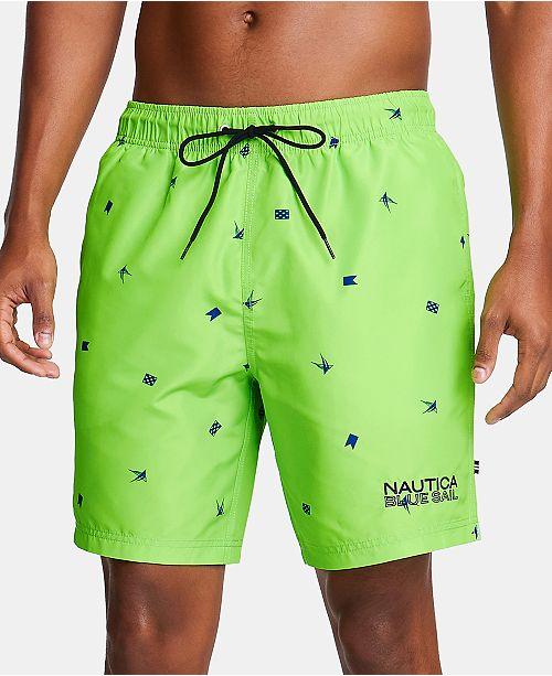 "Nautica Nautica Men's Blue Sail Logo Graphic 6"" Swim Trunks, Created for Macy's"