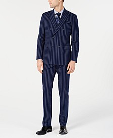 Men's Slim-Fit Seersucker Blue Pinstripe Double Breasted Suit Separates, Created for Macy's