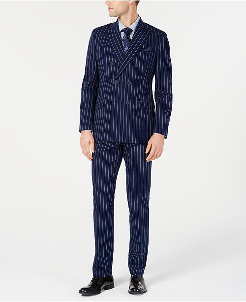 Bar III Men's Slim-Fit Seersucker Blue Pinstripe Double Breasted Suit Separates, Created for Macy's