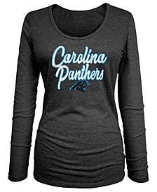Women's Carolina Panthers Long Sleeve Triblend Foil T-Shirt