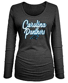 5th & Ocean Women's Carolina Panthers Long Sleeve Triblend Foil T-Shirt