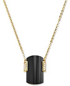 "Sterling Silver Pavé & Stone Pendant Necklace, 16""+ 2"" extender"