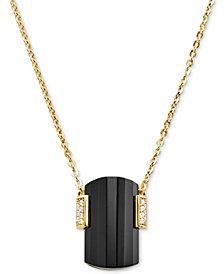 "Michael Kors Sterling Silver Pavé & Stone Pendant Necklace, 16""+ 2"" extender"