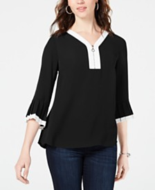 NY Collection Petite Zip Pleated-Sleeve Top