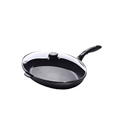 "Swiss Diamond HD Oval Fry Pan with Lid - 15"" x 10.25"""