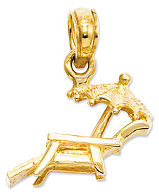 14k Gold Charm, Lounge Beach Chair Charm