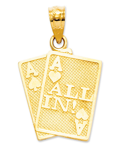 14k Gold Charm, Ace of Hearts and Spades All In Charm