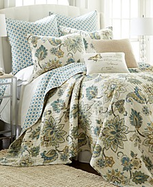 Home Block Print Embroidered Medallions Gray Pillow
