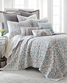 Home Architectural Tile Gray Full/Queen Quilt Set