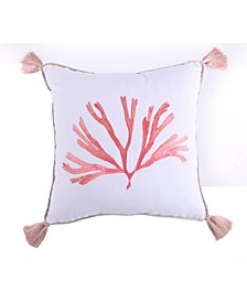 Home Embroidered Coral with Tassels Pillow