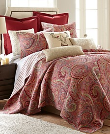 Spruce Red Paisley Reversible Full/Queen Quilt Set