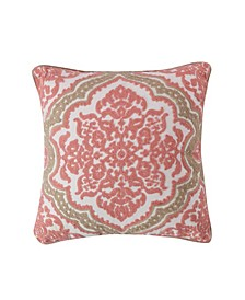 Home Spruce Coral Crewel Coral Taupe Pillow