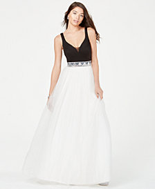 Speechless Juniors' Colorblocked Rhinestone Ballgown