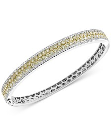 EFFY® Diamond (3-3/8 ct. t.w.) Bangle Bracelet in 14k Gold and White Gold