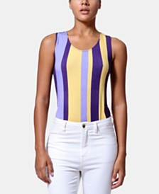 ARTISTIX Striped High-Leg Racerback Bodysuit