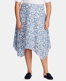 Lauren Ralph Lauren Plus Size Floral-Print Georgette Skirt