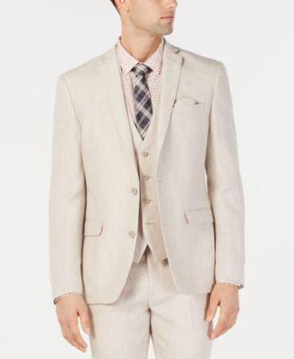Men's Slim-Fit Linen Tan Suit Jacket, Created for Macy's