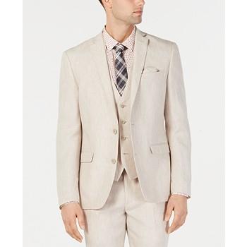 Bar III Men's Slim-Fit Linen Tan Suit Jacket