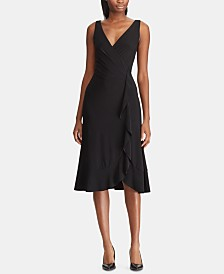 Lauren Ralph Lauren Ruffle-Trim Ruched Dress