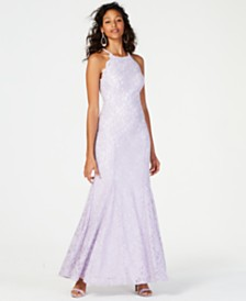 Nightway Allover Glitter & Lace Gown