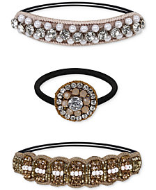 Deepa Two-Tone 3-Pc. Set Crystal, Bead & Imitation Pearl Ponytail Ties