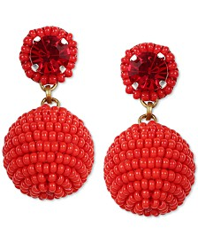 Deepa Crystal & Beaded Ball Drop Earrings