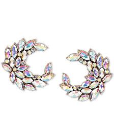 Deepa Iridescent Crystal Crescent Stud Earrings