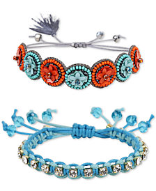Deepa Two-Tone 2-Pc. Set Crystal, Bead & Flower Friendship Slider Bracelets