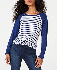 Ultra Flirt Junior's Twist-Hem Raglan-Sleeve T-Shirt