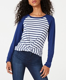 Ultra Flirt Junior's Twist-Hem Raglan-Sleeve T-Shirt