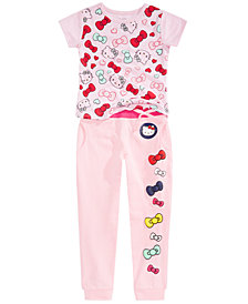 Hello Kitty Toddler & Little Girls Bow-Print T-Shirt & Jogger Pants