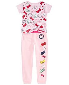 Hello Kitty Toddler & Little Girls Bow-Print T-Shirt & Jogger Pants