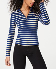 Ultra Flirt Juniors' Striped Ribbed Zip-Neck Polo Top