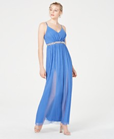 BCX Juniors' Pleated Glitter Mesh Gown